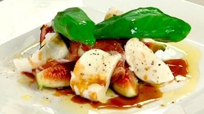 fig, bocconcini and basil salad